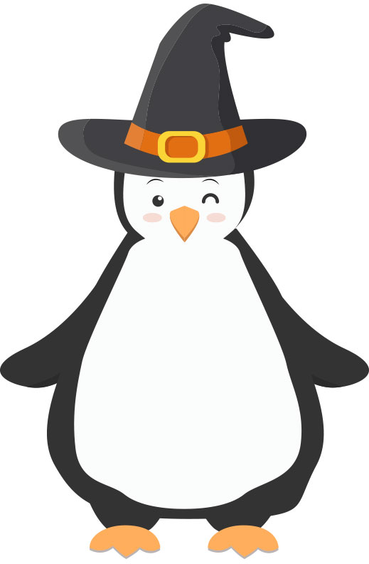 A drawing of a pengin with an interesting hat